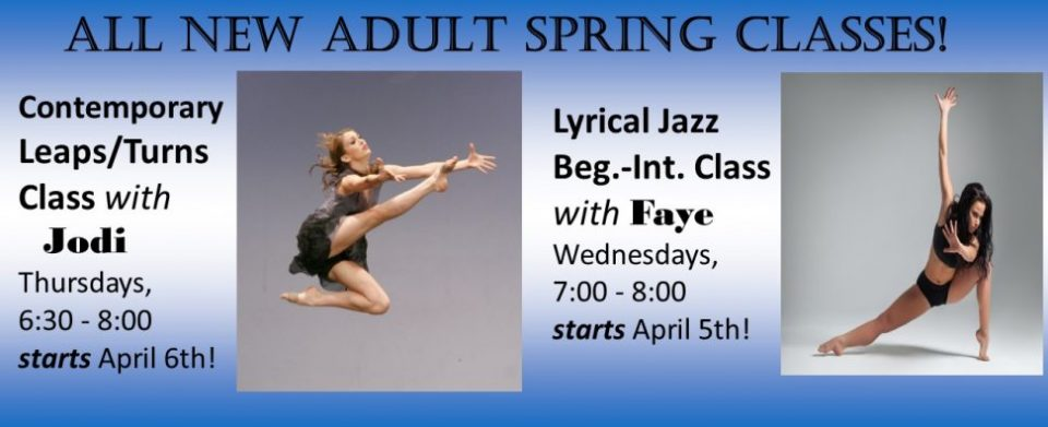 NEW ADULT CLASSES APRIL 2017